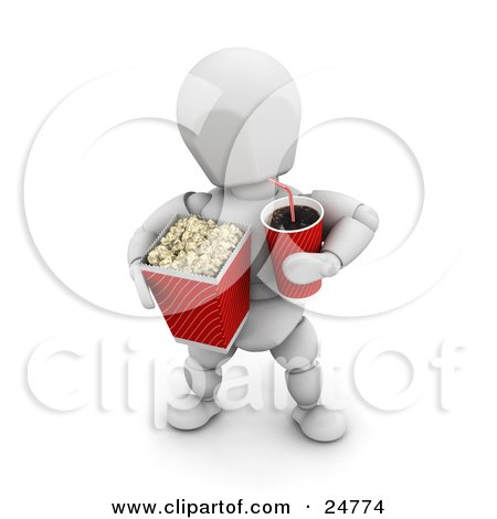 Clipart Illustration of a White Character At The Movie Theater, Holding A Fountain Soda And A Bucket Of Popcorn by KJ Pargeter