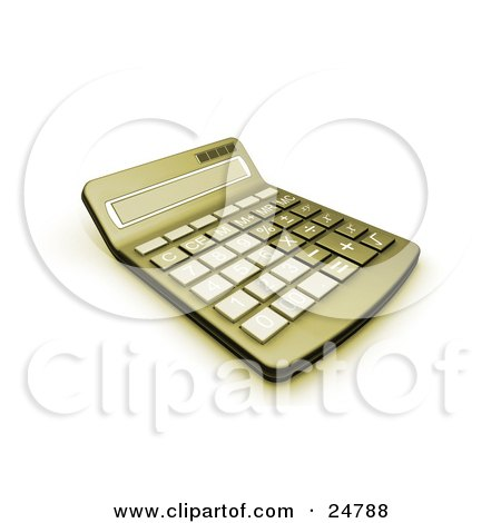 Clipart Illustration of a Greenish Yellow Calculator With A Curved Display by KJ Pargeter