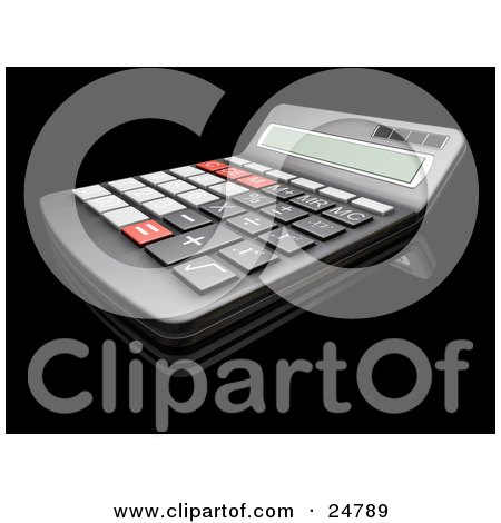 Clipart Illustration of a Black Match Calculator With Gray, Black And Red Buttons by KJ Pargeter
