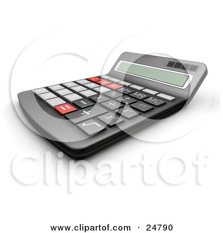 Clipart Illustration of a Black Calculator With Gray, Black And Red Buttons As Seen From The Side by KJ Pargeter