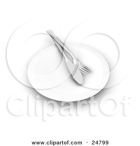 Clipart Illustration of a Butter Knife And Fork On A White Dinner Plate by KJ Pargeter