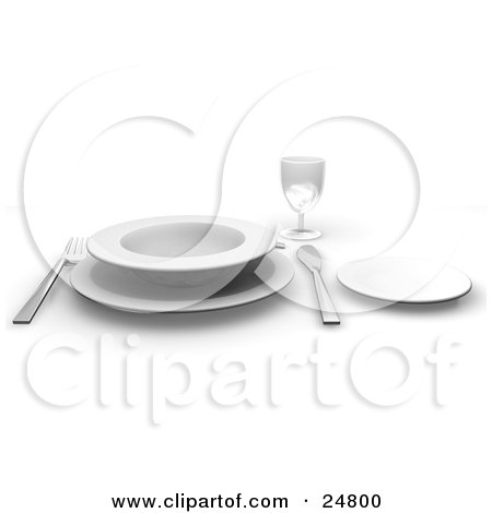 Clipart Illustration of a Fork And Butter Kife With A White Soup Bowl On A Saucer, With A Small Plate And Drinking Glass On A Table by KJ Pargeter