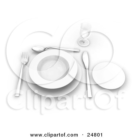 Clipart Illustration of a Fork, Spoon And Butter Kife Around The Edges Of A White Soup Bowl On A Saucer, With A Small Plate And Glass On A Table by KJ Pargeter