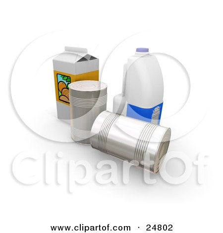 Clipart Illustration of a Gallon Of Milk, Carton Of Orange Juice And Two Tin Cans by KJ Pargeter