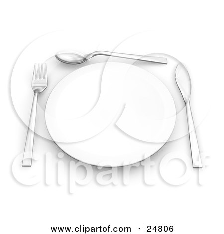 Clipart Illustration of a Fork, Spoon And Butter Kife Around The Edges Of A Clean White Plate On A Table by KJ Pargeter