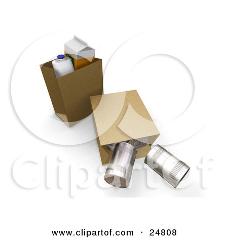 Clipart Illustration of a Gallon Of Milk, Carton Of Orange Juice And In Paper Shopping Bags, A Tipped Bag With Tin Cans Rolling Out by KJ Pargeter