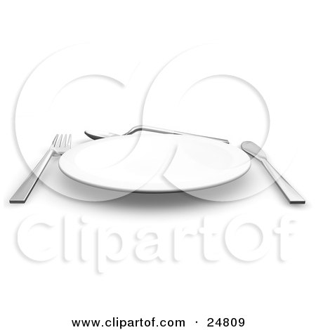 Clipart Illustration of a Fork, Spoon And Butter Kife Around The Edges Of A White Plate by KJ Pargeter