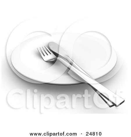 Clipart Illustration of a Silver Butter Knife And Fork On A Clean White Plate by KJ Pargeter