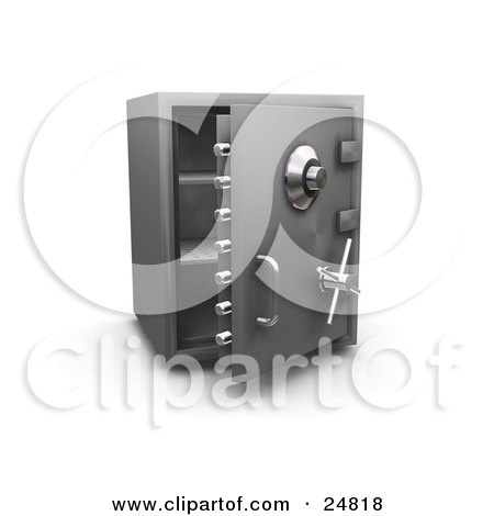 Clipart Illustration of an Empty Open Personal Safe With Shelves, Over White by KJ Pargeter