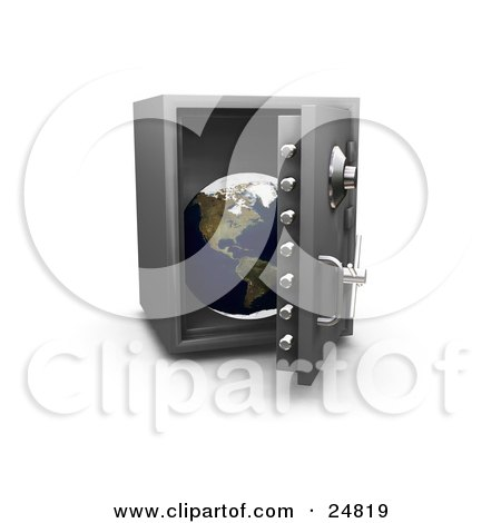 Clipart Illustration of a Personal Safe With The Door Opening To Display The Globe, Over White by KJ Pargeter