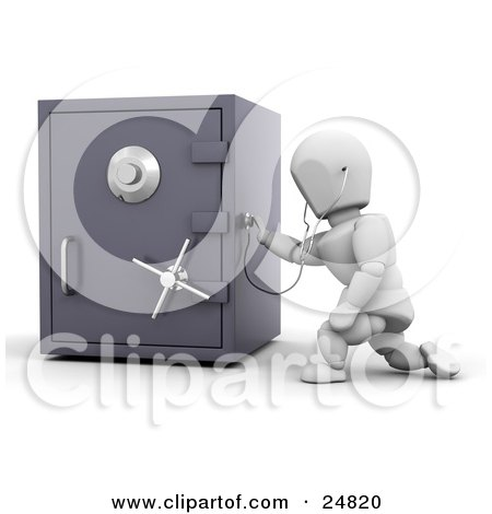 White Character Holding A Stethoscope Up To A Locked Personal Safe, Over White Posters, Art Prints