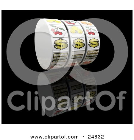 Clipart Illustration of a Jackpot Winner Fruit Machine Reel With Three Dollar Signs, Hovering Over A Reflective Black Background by KJ Pargeter