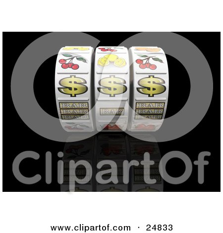 Clipart Illustration of Three Dollar Signs On A Casino Jackpot Winner Fruit Machine Reel Over A Reflective Black Background by KJ Pargeter