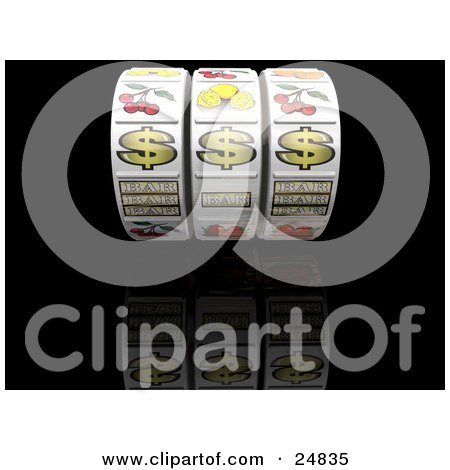 Clipart Illustration of Three Lined Up Jackpot Winner Dollar Signs On A Fruit Machine In A Casino, Over A Reflective Black Surface by KJ Pargeter