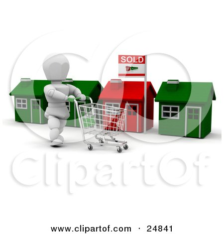 Clipart Illustration of a White Character Pushing A Shopping Cart In Front Of A Row Of Red And Green Homes, One With A Sold Sign by KJ Pargeter