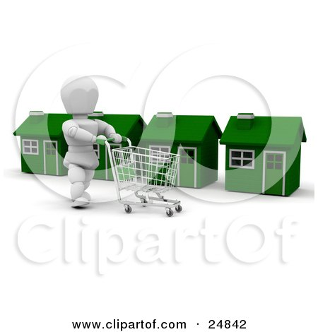 Clipart Illustration of a White Character Pushing A Shopping Cart In Front Of A Row Of Green Houses by KJ Pargeter