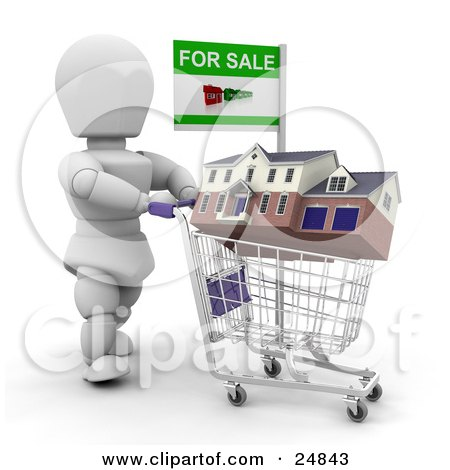Clipart Illustration of a White Character Trying To Sell A House, Pushing It In A Shopping Cart With A For Sale Sign, Over White by KJ Pargeter