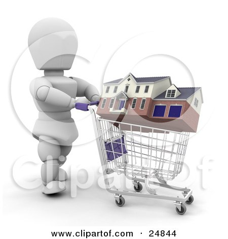 Clipart Illustration of a White Character Shopping For A House, Rolling It Around In A Shopping Cart, Over White by KJ Pargeter