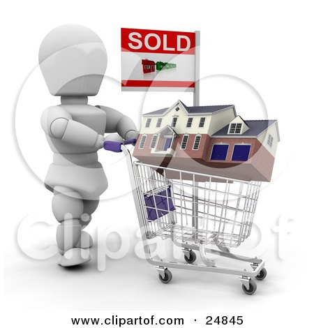 Clipart Illustration of a White Character Agent Pushing A House In A Shopping Cart With A Sold Sign, Over White by KJ Pargeter