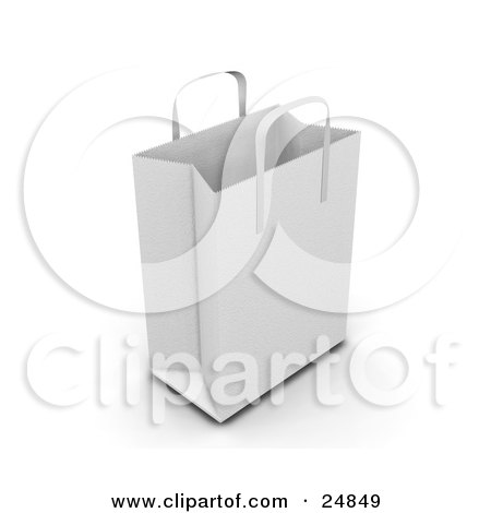 Clipart Illustration of a White Paper Bag With Handles, Empty And Expanded, Ready For Bagging by KJ Pargeter