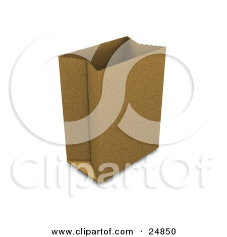 Clipart Illustration of a Paper Bag Standing Up, Propped Open And Ready For Grocery Bagging by KJ Pargeter