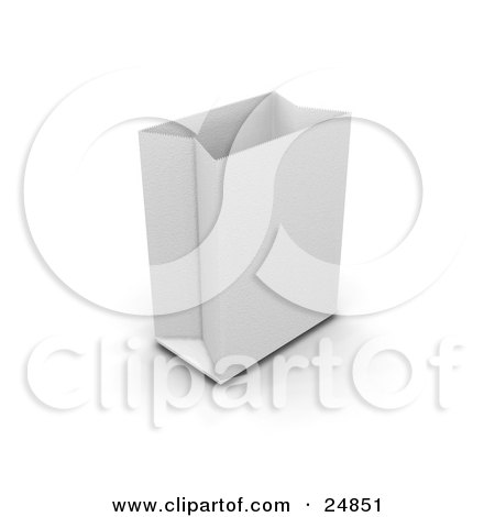 Clipart Illustration of an Open And Empty White Paper Bag, Ready To Be Filled With Products by KJ Pargeter