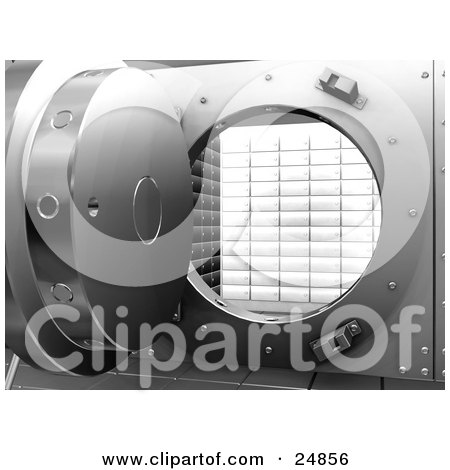 Clipart Illustration of The Door Of A Round Bank Vault, Open And Showing Secure Boxes by KJ Pargeter