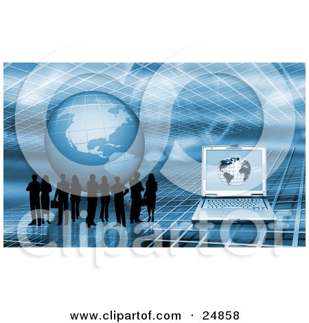 Silhouetted Business People Standing On A Blue Grid Surface With A Globe And Laptop Computer Posters, Art Prints