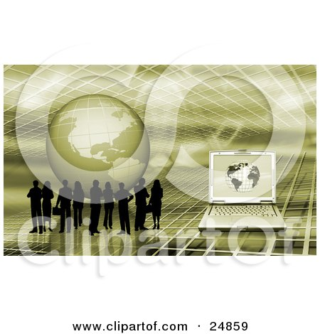 Clipart Illustration of a Silhouetted Business People Standing On A Green Grid Surface With A Globe And Laptop Computer by KJ Pargeter