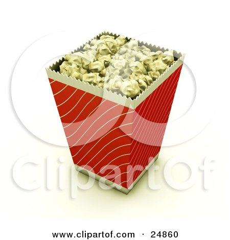 Red And Gold Bucket Of Buttered Movie Popcorn Posters, Art Prints