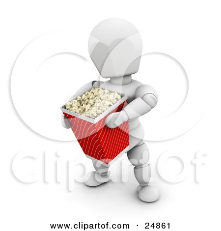 Clipart Illustration of a White Character In A Movie Theater, Carrying A Large Bucket Of Popcorn by KJ Pargeter