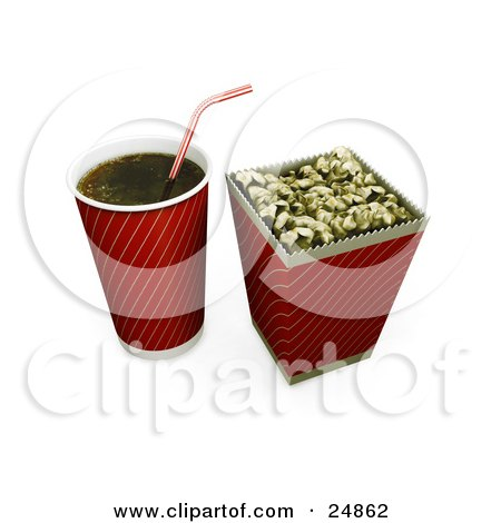 Clipart Illustration of a Red And Gold Fountain Soda Cup With A Straw, By A Bucket Of Buttered Movie Popcorn by KJ Pargeter