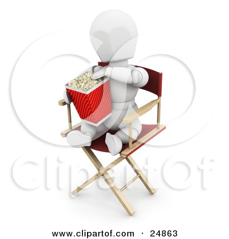 Clipart Illustration of a White Character Sitting In A Directors Chair And Eating Movie Popcorn by KJ Pargeter