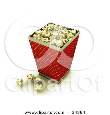 Red And Gold Bucket Of Buttery Movie Popcorn With Some Popcorn On The Counter Posters, Art Prints