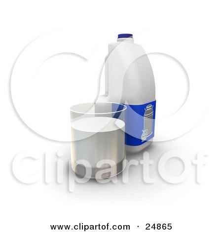 Clipart Illustration of a Gallon And A Glass Cup Of Milk by KJ Pargeter
