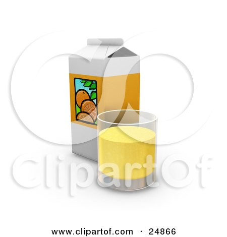 Clipart Illustration of a Carton And A Glass Cup Of Orange Juice by KJ Pargeter