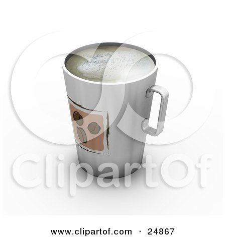 Clipart Illustration of a Tall Cup Full Of Frothy Coffee, With Three Beans Designed On The Front by KJ Pargeter