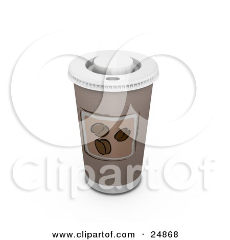 Clipart Illustration of a Coffee Cup With A Hot Lid And Coffee Bean Image by KJ Pargeter