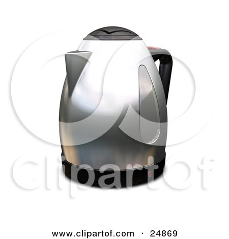 Clipart Illustration of a Silver Coffee Percolator Or Caffettiera On A Kitchen Counter by KJ Pargeter