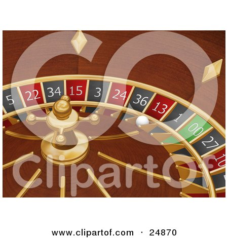 Clipart Illustration of a White Roulette Ball In The 13 Slot Of A Roulette Wheel In A Casino by KJ Pargeter