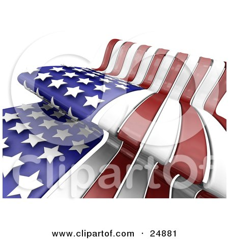Clipart Illustration of The Stars And Stripes Of The Red, White And Blue American Flag, Waving In The Breeze On Independence Day by KJ Pargeter