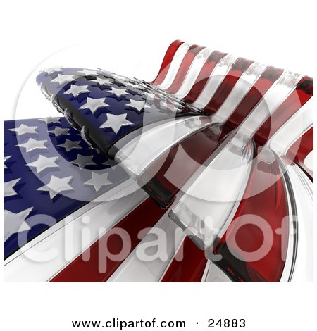 Clipart Illustration of a Waving American Flag With Dark Red And White Stripes And Stars, Over White by KJ Pargeter