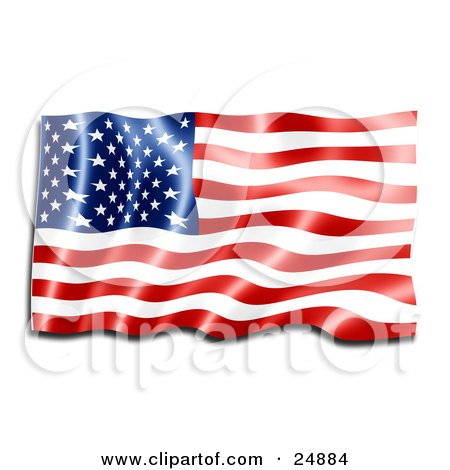 Clipart Illustration of a Shiny New Red, White And Blue American Flag Reflecting Light And Rippling In The Breeze by KJ Pargeter