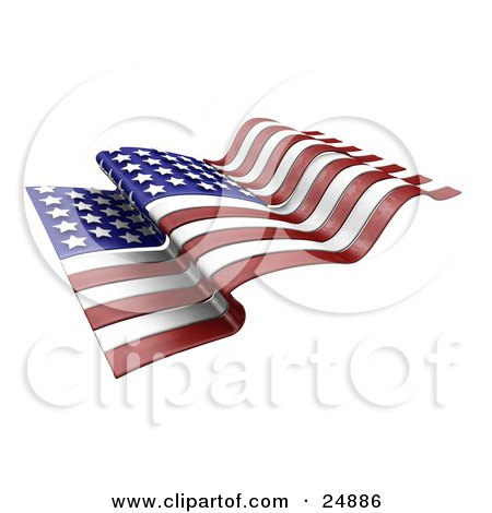 Clipart Illustration of a Waving American Flag With Red And White Stripes And White Stars Over Blue by KJ Pargeter