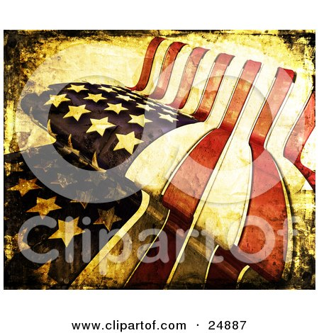 Clipart Illustration of an American Flag With Grunge Texture And Stains, Rippling In The Wind by KJ Pargeter