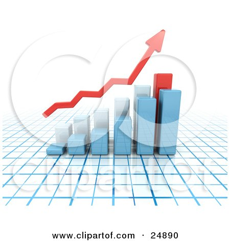 Clipart Illustration of a Red Increase Arrow Above Blue And Red Bar Graphs On A Blue And White Grid by KJ Pargeter
