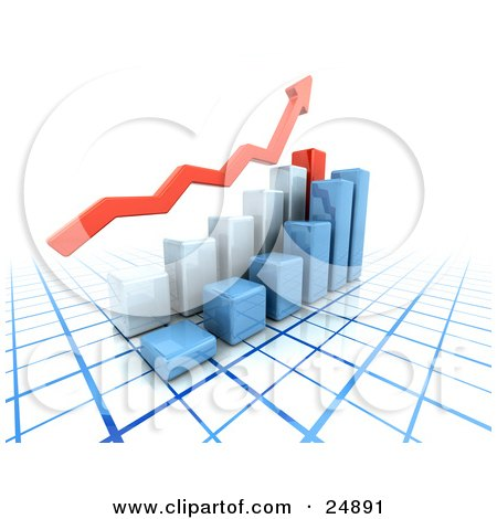 Clipart Illustration of a Red Arrow Above Blue And Red Bar Graphs On A Blue And White Grid, Symbolizing Success by KJ Pargeter