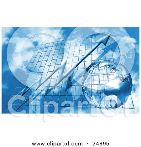 Clipart Illustration of a Blue Arrow On A Grid, Increasing Over A Map And A Wire Globe In The Sky by KJ Pargeter