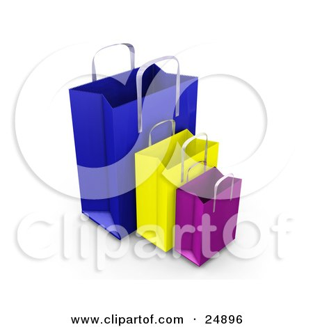 Clipart Illustration of Blue, Yellow And Purple Paper Bags With Handles, Empty And Expanded, Ready For Bagging by KJ Pargeter