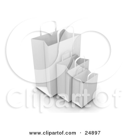 Clipart Illustration of Three White Paper Bags With Handles, Empty And Expanded, Ready For Bagging by KJ Pargeter